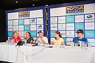 Melissa Hauschildt (AUS), Emma Moffatt (AUS), Courtney Atkinson (AUS), Ashleigh Gentle (AUS), Peter Kerr (AUS). Pre Race Press Conference. 2013 Noosa Triathlon Festival. Cairns, Queensland, Australia. 01/11/2013. Photo By Lucas Wroe