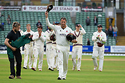 Marcus Trescothick of Somerset leaves the field for the last time with his cap held high during the Specsavers County Champ Div 1 match between Somerset County Cricket Club and Essex County Cricket Club at the Cooper Associates County Ground, Taunton, United Kingdom on 26 September 2019.