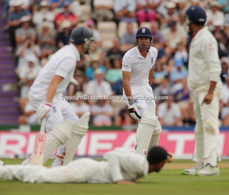 No! Alastair Cook turns down a second run with Gary Ballance (left) during the third Investec Test Match between England and India at the Ageas Bowl, Southampton. Photo: Graham Morris/www.cricketpix.com (Tel: +44 (0)20 8969 4192; Email: graham@cricketpix.com) 27/07/14