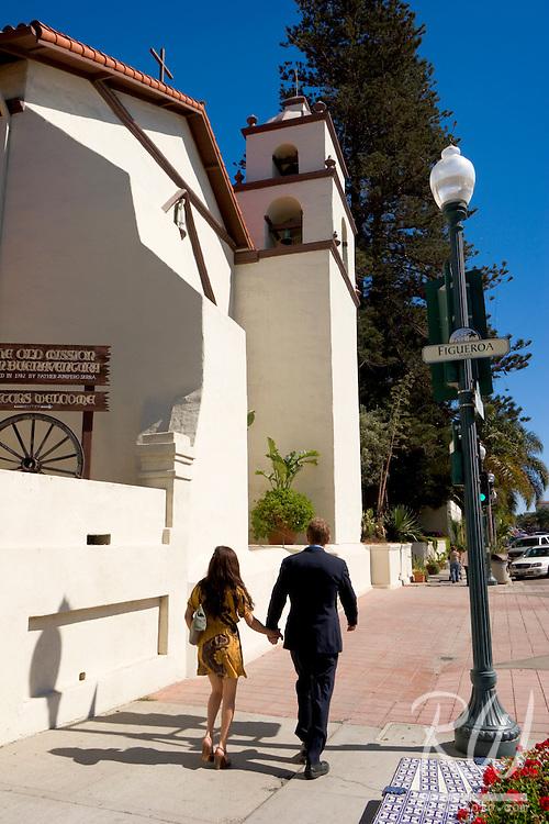Pedestrians at Mission San Buenaventura, Ventura, California