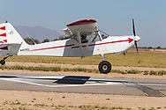 Spot landing contest on April 1, 2017 at Ak-Chin Regional Airport near Maricopa, AZ.  Some of the 99s camped overnight and were joined by Andy Estes of Desert Rat Aviation and Tim Costello, airport manager.<br /> <br /> So close, yet so far.  A participant flies over the winning diamond of the spot landing contest.