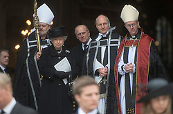 HM The Queen with HRH The Duke of Edinburgh and the Archbishop of Canterbury on the steps of St Paul's, St Paul's Cathedral, London, UK, on Wednesday 17 April, 2013, Thursday 18 April, 2013 Photo by: i-Images