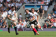 Twickenham, England, 27th May 2018. Quilter Cup, Rugby,  Baa Baa's, Chris ASHTON, chased by, Piers FRANCIS [[L] and George FORD [R] at the England vs Barbarians, Rugby Match at the RFU. Stadium, Twickenham. UK.  <br /> <br /> © Peter Spurrier/Alamy Live News