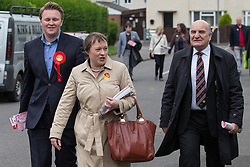 © Licensed to London News Pictures . 03/06/2014 . Newark , Nottinghamshire , UK . L-R candidate Michael Payne , Maria Eagle and Stephen Pound campaigning in Newark today (Tuesday 3rd June 2014) ahead of the by-election due to take place on Thursday (5th June 2014) . Photo credit : Joel Goodman/LNP