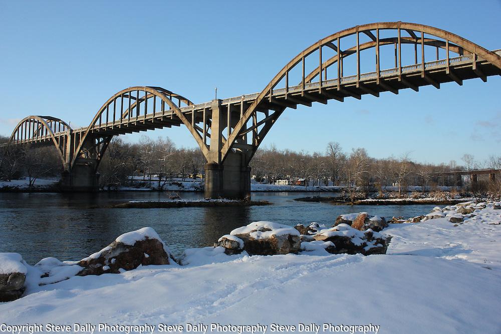 The Rainbow Bridge in Cotter, Arkansas in winter.