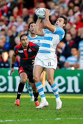 Argentina Winger Juan Imhoff takes a high ball going on to score his second try of the match - Mandatory byline: Rogan Thomson/JMP - 07966 386802 - 25/09/2015 - RUGBY UNION - Kingsholm Stadium - Gloucester, England - Argentina v Georgia - Rugby World Cup 2015 Pool C.