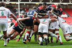 Bristol Rugby drive Pau back over the tryline allowing Luke Arscott of Bristol Rugby to score a try  - Rogan Thomson/JMP - 11/12/2016 - RUGBY UNION - Ashton Gate Stadium - Bristol, England - Bristol Rugby v Pau - European Rugby Challenge Cup.