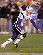 SAN DIEGO - JANUARY 14:  Kicker Stephen Gostkowski #3 of the New England Patriots kicks the winning 31 yard field goal against the San Diego Chargers at the AFC Divisional Playoff Game held on January 14, 2007 at Qualcomm Stadium in San Diego, California. The Patriots defeated the Chargers 24-21. ©Paul Anthony Spinelli *** Local Caption *** Stephen Gostkowski