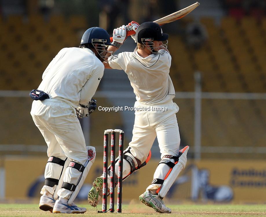 New Zealand Batsman Kane Williamson Hit The Shot Against India During The 1st Test Match India vs New Zealand Day-3 Played at Sardar Patel Stadium, Motera, Ahmedabad 6, November 2010 (5-day match)