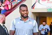 Wes Morgan of Leicester City (5) arrives at the ground during the Pre-Season Friendly match between Scunthorpe United and Leicester City at Glanford Park, Scunthorpe, England on 16 July 2019.