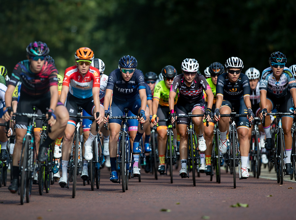 The riders on Constitution Hill in the very early stages The Prudential RideLondon Classique. Saturday 28th July 2018<br /> <br /> Photo: Jed Leicester for Prudential RideLondon<br /> <br /> Prudential RideLondon is the world's greatest festival of cycling, involving 100,000+ cyclists - from Olympic champions to a free family fun ride - riding in events over closed roads in London and Surrey over the weekend of 28th and 29th July 2018<br /> <br /> See www.PrudentialRideLondon.co.uk for more.<br /> <br /> For further information: media@londonmarathonevents.co.uk