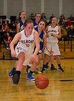Makayla Donovan of Belmont goes after a loose ball during NHIAA Division III basketball with Gilford on Wednesday evening.  (Karen Bobotas/for the Laconia Daily Sun)
