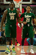 DALLAS, TX - JANUARY 15: Jordan Omogbehin #35 and Javontae Hawkins #21 of the South Florida Bulls walk down court against the SMU Mustangs on January 15, 2014 at Moody Coliseum in Dallas, Texas.  (Photo by Cooper Neill/Getty Images) *** Local Caption *** Jordan Omogbehin; Javontae Hawkins