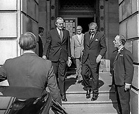 British Home Secretary, James Callaghan, right, departs Stormont Castle following 28th August 1969 meeting with Ulster Unionist Prime Minister, Major James Chichester-Clark. 196908280243d<br />