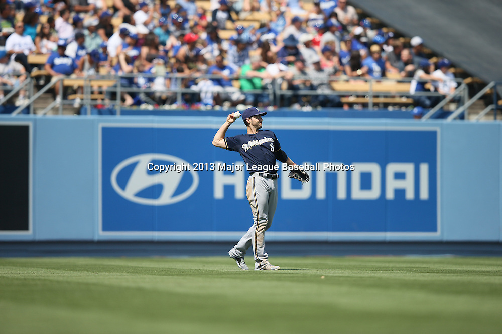 LOS ANGELES, CA - APRIL 28:  Ryan Braun #8 of the Milwaukee Brewers warms up between innings while playing left field during the game against the Los Angeles Dodgers on Sunday, April 28, 2013 at Dodger Stadium in Los Angeles, California. The Dodgers won the game 2-0. (Photo by Paul Spinelli/MLB Photos via Getty Images) *** Local Caption *** Ryan Braun