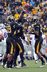 Nov 13, 2010; Columbia, MO, USA; Missouri Tigers defensive lineman Jacquies Smith (3) is congratulated by team mates after recovering a fumble in the first half against the Kansas State Wildcats at Memorial Stadium. Missouri won 38-28.  Mandatory Credit: Denny Medley-US PRESSWIRE