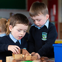 Jamie Sugrue and David Dutfield play together on their first day at school at Liscannor NS