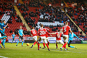 Fleetwood Town defender Amari'i Bell (3) scores a goal (score 1-1) during the EFL Sky Bet League 1 match between Charlton Athletic and Fleetwood Town at The Valley, London, England on 4 February 2017. Photo by Andy Walter.