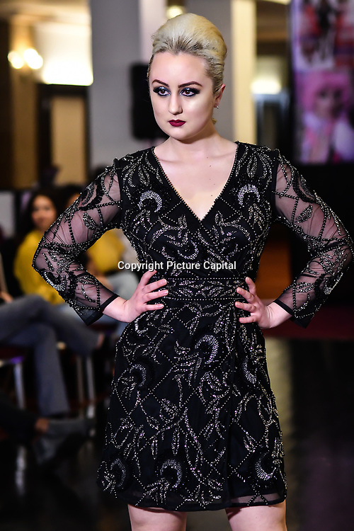 Samina Mughal showcases a set (LUXXE) at SMGlobal Catwalk - London Fashion Week F/W19 at Clayton Crown Hotel,  Cricklewood Broadway, on 1st March 2019, London, UK.