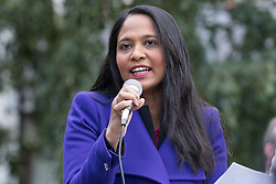 © Licensed to London News Pictures. 09/10/2016. LONDON, UK.  RUSHANARA ALI MP speaking with socialists, Trade Unionists, Jewish and anti racism groups at a march and rally from Altib Ali Park in Whitechapel to Cable Street to mark the 80th anniversary of the Battle of Cable Street and commemorate the defeat of fascism and Sir Oswald Mosley's British Union of Fascists (whose members were known as Blackshirts) in London's east end in 1936. The activists today are also protesting against the rising number of racist and anti-semitic hate crimes in London following Brexit. On 4th October, 1936 the police tried to escort Mosley and his Blackshirts along Cable Street, but they were stopped by local Jewish, Irish and English residents who built barricades and hurled back the fascists by force.  Photo credit: Vickie Flores/LNP