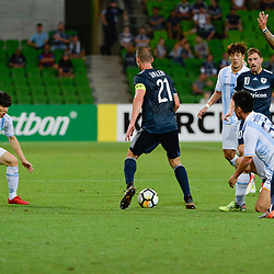 Carl Valeri (c) of Melbourne Victory FC, Toyoda Yohei (Toyoda) of Ulsan Hyundai, Rhys Williams of Melbourne Victory FC, 2nd half (3:3)  -  AFC Champions League, 13 February 2018, Group F, Melbourne Victory FC v Ulsan Hyundai at Melbourne Rectangular Stadium (Aami Park), Australia |© Mark Avellino | SportPix.org.uk