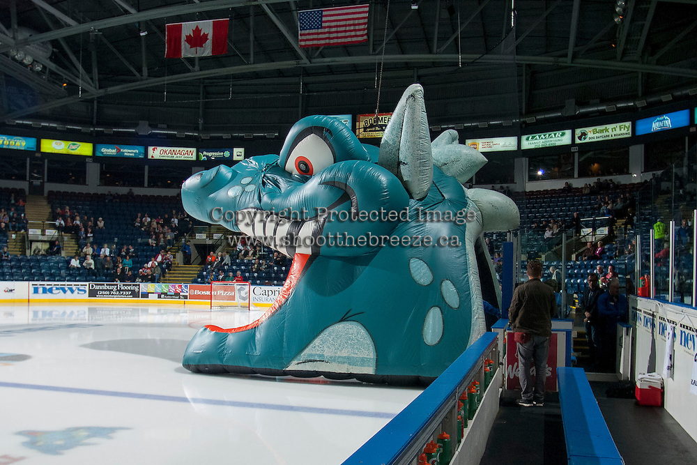 KELOWNA, CANADA - OCTOBER 7: Ogie is set for the Kelowna Rockets to enter the ice against the Swift Current Broncoson October 7, 2014 at Prospera Place in Kelowna, British Columbia, Canada.  (Photo by Marissa Baecker/Getty Images)  *** Local Caption *** Ogie;