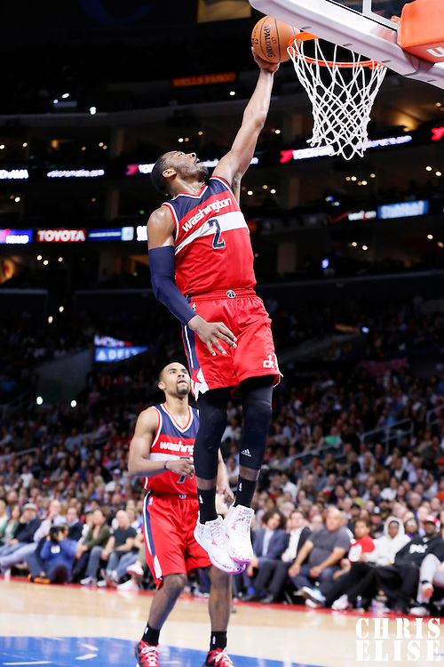 20 March 2015: Washington Wizards guard John Wall (2) goes for the layup during the Los Angeles Clippers 113-99 victory over the Washington Wizards, at the Staples Center, Los Angeles, California, USA.