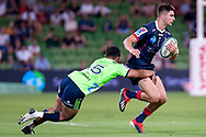 MELBOURNE, VIC - MARCH 01: Josh Ioane (15) of the Highlanders attempts to tackle Jack Maddocks (14) of the Melbourne Rebels at The Super Rugby match between Melbourne Rebels and Highlanders on March 01, 2019 at AAMI Park, VIC. (Photo by Speed Media/Icon Sportswire)