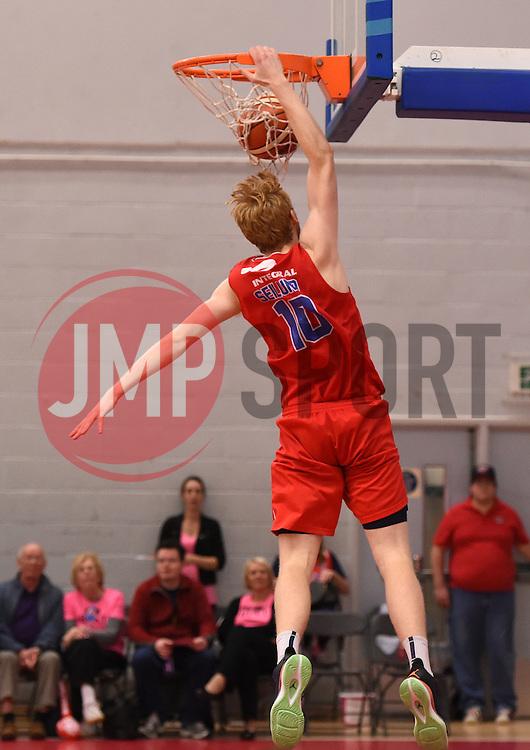 Mathias Seilund of Bristol Flyers scores a basket  - Photo mandatory by-line: Joe Meredith/JMP - Mobile: 07966 386802 - 10/10/2015 - BASKETBALL - SGS Wise Arena - Bristol, England - Bristol Flyers v Newcastle Eagles - British Basketball League