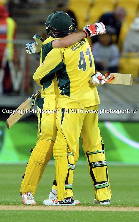 Australia's Mitchell Marsh and John Hastings celebrate winning the 2nd match of the Chappell-Hadlee ODI series, New Zealand vs Australia, Westpac Stadium, Wellington, Saturday, February, 06, 2016. Copyright photo: Kerry Marshall / www.photosport.nz