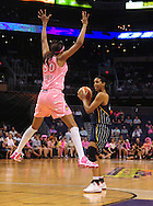 Aug 8, 2010; Phoenix, AZ, USA; Indiana Fever forward Jessica Moore handles the ball against Phoenix Mercury forward Tangela Smith during the first half in at US Airways Center.  Mandatory Credit: Jennifer Stewart-US PRESSWIRE