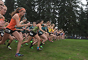 Dec 2, 2017; Portland, OR, USA; General overall view of the start of the girls' race during the 2017 Nike Cross Nationals at Glendoveer Golf Course.
