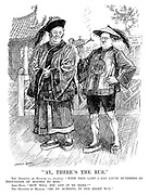 """""""Ay, There's The Rub."""" The Minister of Health (as Aladdin). """"With this lamp I can cause hundreds of thousands of houses to rise."""" John Bull. """"How will you get it to work?"""" The Minister of Health. """"Oh, by rubbing it the right way."""" (cartoon showing John Bull and John Wheatley with a Building Labour lamp while standing infront of This Site For Sale signs during the InterWar era)"""