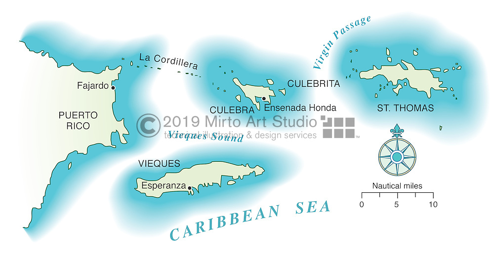 Vector map of Spanish Virgin Islands
