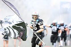 18.05.2013, Tivoli Stadion, Innsbruck, AUT, AFL, Swarco Raiders Tirol vs Danube Dragons, im Bild Einmarsch der Raiders angefuehrt von Christoph Schilcher, (SWARCO Raiders Tirol, LB, #55) // during the Austrian Football League Game between Swarco Raiders Tirol and Danube Dragons at the Tivoli Stadion, Innsbruck, Austria on 2013/05/18. EXPA Pictures © 2013, PhotoCredit: EXPA/ Thomas Haumer