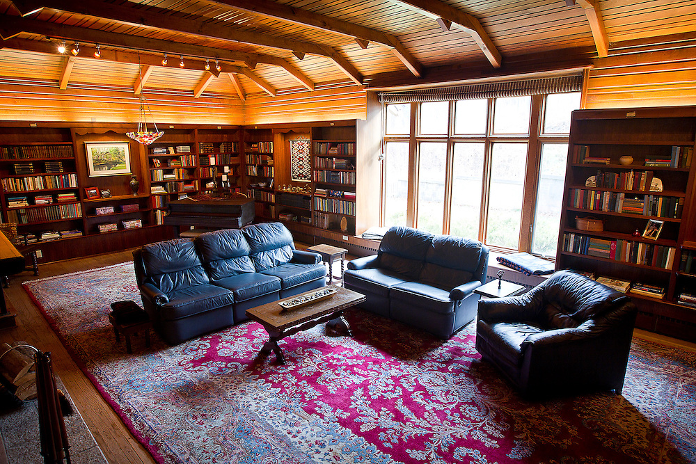 "BLUE MOUNDS—November 7, 2014: Library room of ""Little Norway""."