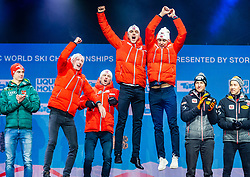 02.03.2019, Seefeld, AUT, FIS Weltmeisterschaften Ski Nordisch, Seefeld 2019, Siegerehrung, im Bild Weltmeister und Goldmedaillengewinner Espen Bjoernstad (NOR), Joergen Graabak (NOR), Jan Schmid (NOR), Jarl Magnus Riiber (NOR) // World champion and Gold medalist Espen Bjoernstad Joergen Graabak Jan Schmid Jarl Magnus Riiber of Norway during the winner Ceremony for the FIS Nordic Ski World Championships 2019. Seefeld, Austria on 2019/03/02. EXPA Pictures © 2019, PhotoCredit: EXPA/ Stefan Adelsberger