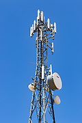 Antennas for 3 sector cellular  communications  mobile telephone system on a triangular lattice tower in Woolpunda, South Australia,  Australia. <br /> <br /> Editions:- Open Edition Print / Stock Image