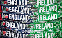 LONDON, ENGLAND - MARCH 17: Scarves on sale before the NatWest Six Nations Championship match between England and Ireland at Twickenham Stadium on March 17, 2018 in London, England. (Photo by Ashley Western - MB Media via Getty Images)