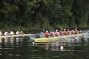 Henley, Great Britain.  M8+, Ladies Challenge Plate, Leander Club 'A' [Bucks], and Harvard University, USA [Berks], power away from the Start, in their Semi-Final. Henley Royal Regatta. River Thames Henley Reach.  Royal Regatta. River Thames Henley Reach.  Saturday  02/07/2011  [Mandatory Credit  Intersport Images] . HRR