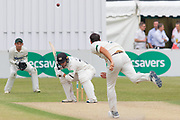 Chris Wright bowls a bouncer at Tom Smith during the Specsavers County Champ Div 2 match between Gloucestershire County Cricket Club and Leicestershire County Cricket Club at the Cheltenham College Ground, Cheltenham, United Kingdom on 16 July 2019.