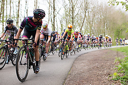 Barbara Guarischi (ITA) of CANYON//SRAM Racing checks the situation behind her in the fourth lap of Stage 3 of the Healthy Ageing Tour - a 154.4 km road race, between  Musselkanaal and Stadskanaal on April 7, 2017, in Groeningen, Netherlands.