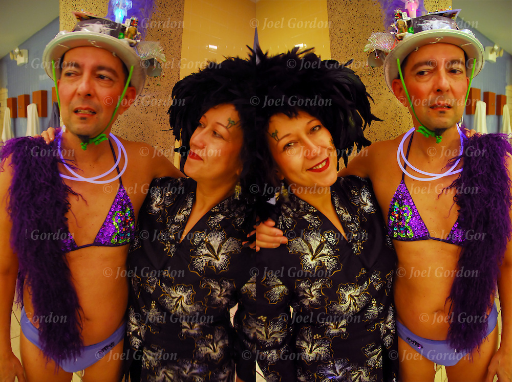 Image in layers duplicated then transformed and flip horizontal in photoshop of Halloween on Broadway theme for Masquerade Pool Party at the Equinox Greenwich pool members of class dress up prizes given for best costumes.