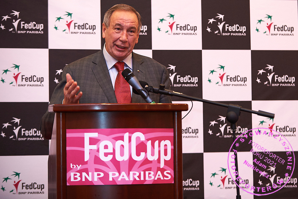 Szamil Anwiarowicz Tarpiszczew - President of Polish Tennis Federation speaks during official dinner two days before the Fed Cup / World Group 1st round tennis match between Poland and Russia at Holiday Inn on February 5, 2015 in Cracow, Poland.<br /> <br /> Poland, Cracow, February 5, 2015<br /> <br /> Picture also available in RAW (NEF) or TIFF format on special request.<br /> <br /> For editorial use only. Any commercial or promotional use requires permission.<br /> <br /> Adam Nurkiewicz declares that he has no rights to the image of people at the photographs of his authorship.<br /> <br /> Mandatory credit:<br /> Photo by &copy; Adam Nurkiewicz / Mediasport