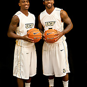 Brothers Marcus Jordan (5) and Jeff Jordan (13) of the University of Central Florida Knights mens basketball team pose on media day at the UCF Arena on October 14, 2010 in Orlando, Florida. The two are the sons of NBA great Michael Jordan.  (AP Photo/Alex Menendez)