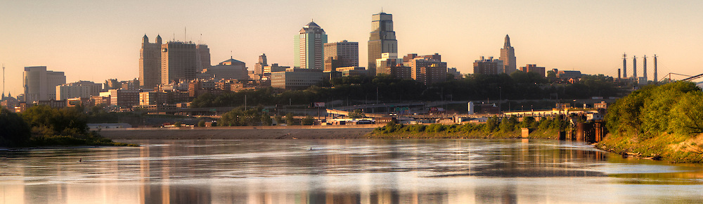 Kansas City Missouri Skyline panorama in the morning from Kaw Point Park in Kansas. Part of a set of panorama photos taken for Performance Automotive.