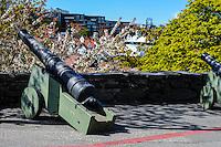 Norway, Stavanger. Cannons at Valbergtårnet.