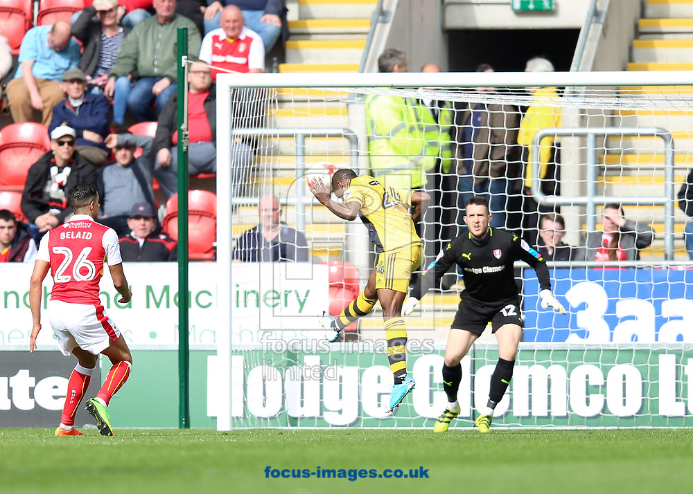 Sone Aluko of Fulham goes close with an header during the Sky Bet Championship match at the New York Stadium, Rotherham<br /> Picture by James Wilson/Focus Images Ltd 07709 548263<br /> 01/04/2017