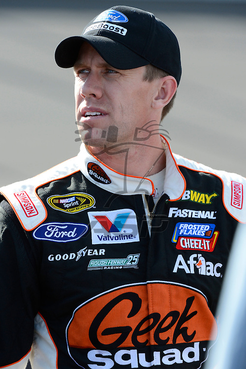 Brooklyn, MI  - Aug 17, 2012: Carl Edwards (99) stands on pit row during qualifying for the Pure Michigan 400 at Michigan International Speedway in Brooklyn, MI.
