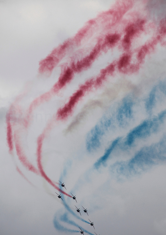 French Air Force's aerobatic team La Patrouille de France performs during the airshow. 21 June 2013.